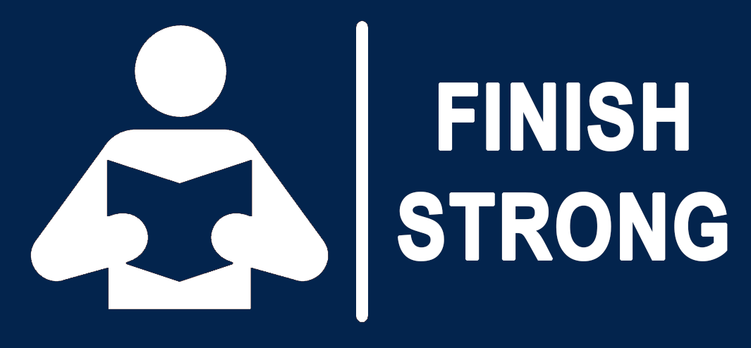 A logo of a person reading a book with text that says finish strong
