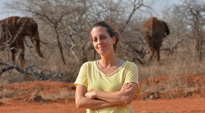 Lynn Von Hagen with elephants in Kenya