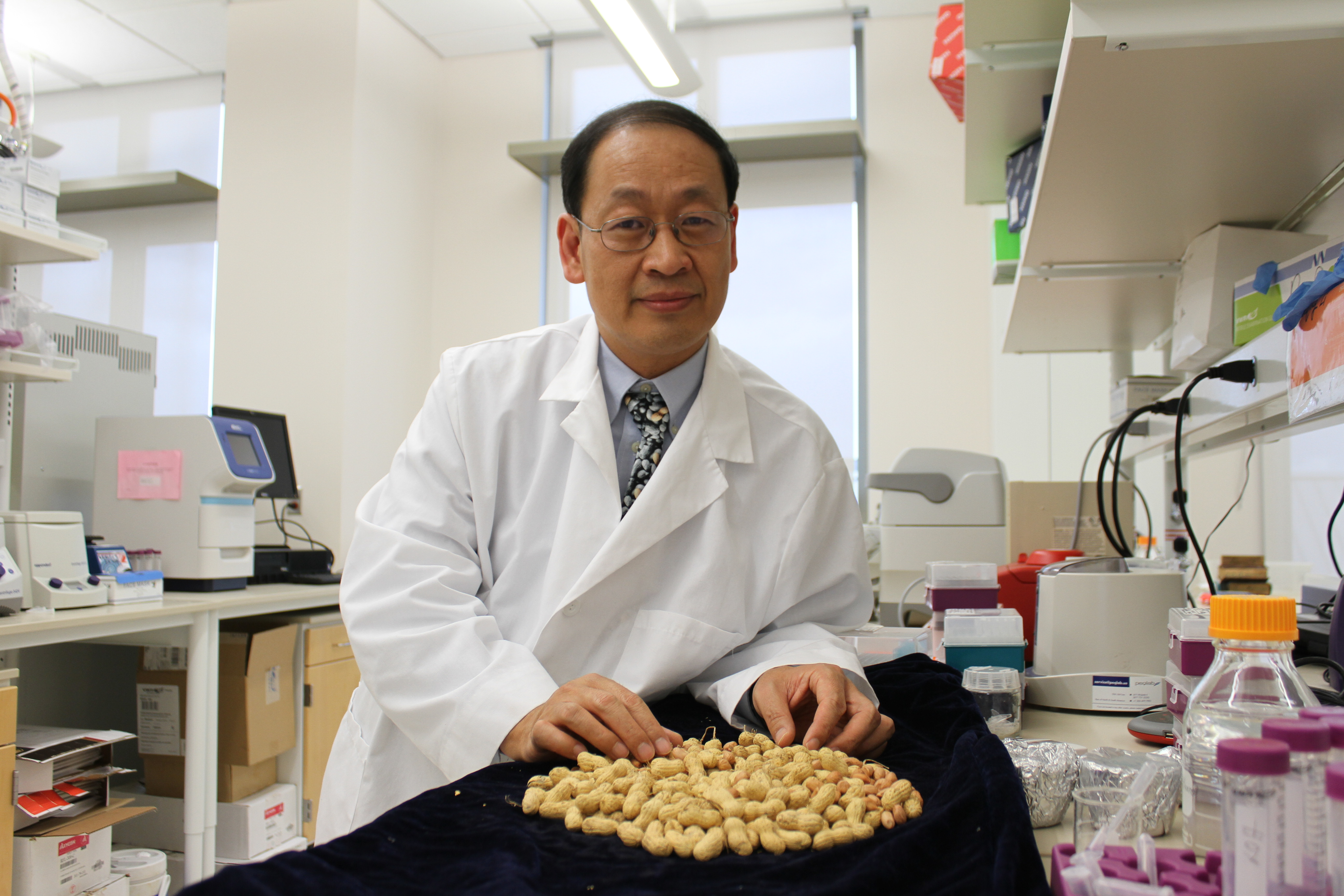 Professor Charles Chen in his lab, displaying peanuts