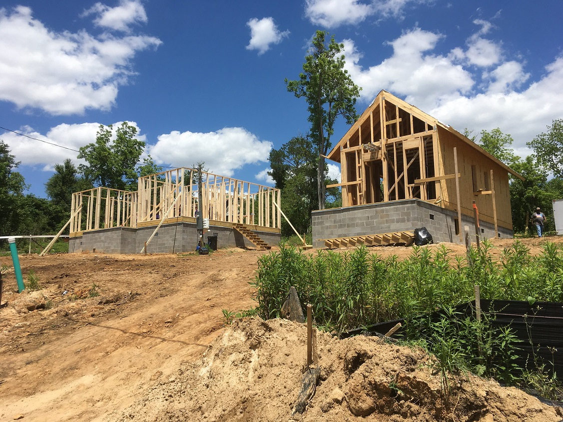 Construction progress of Front Porch Initiative homes at Chipola Street Development in Marianna, Florida. (Image by Rural Studio)