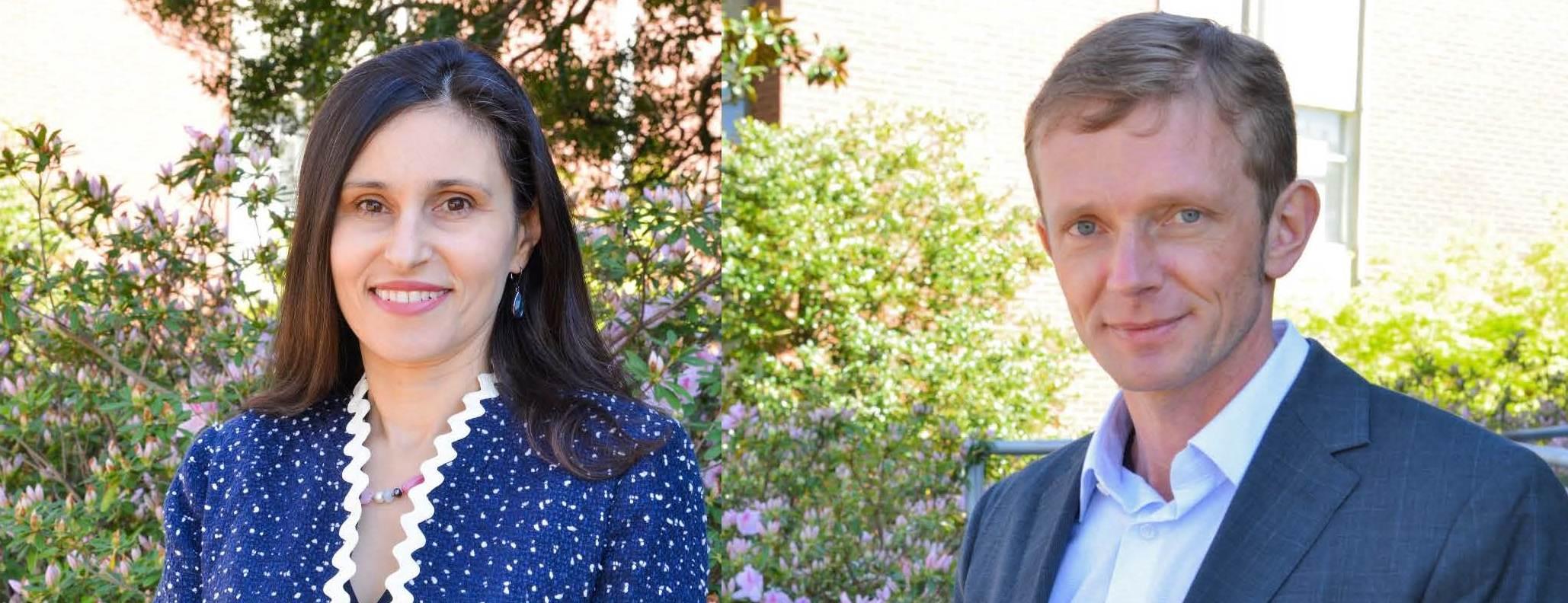 from left: Valentina Hartarska and Denis Nadolnyak, outdoors