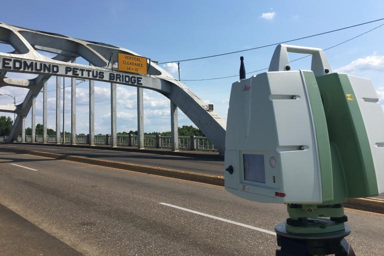 Edmund Pettus Bridge being analyzed using LIDAR