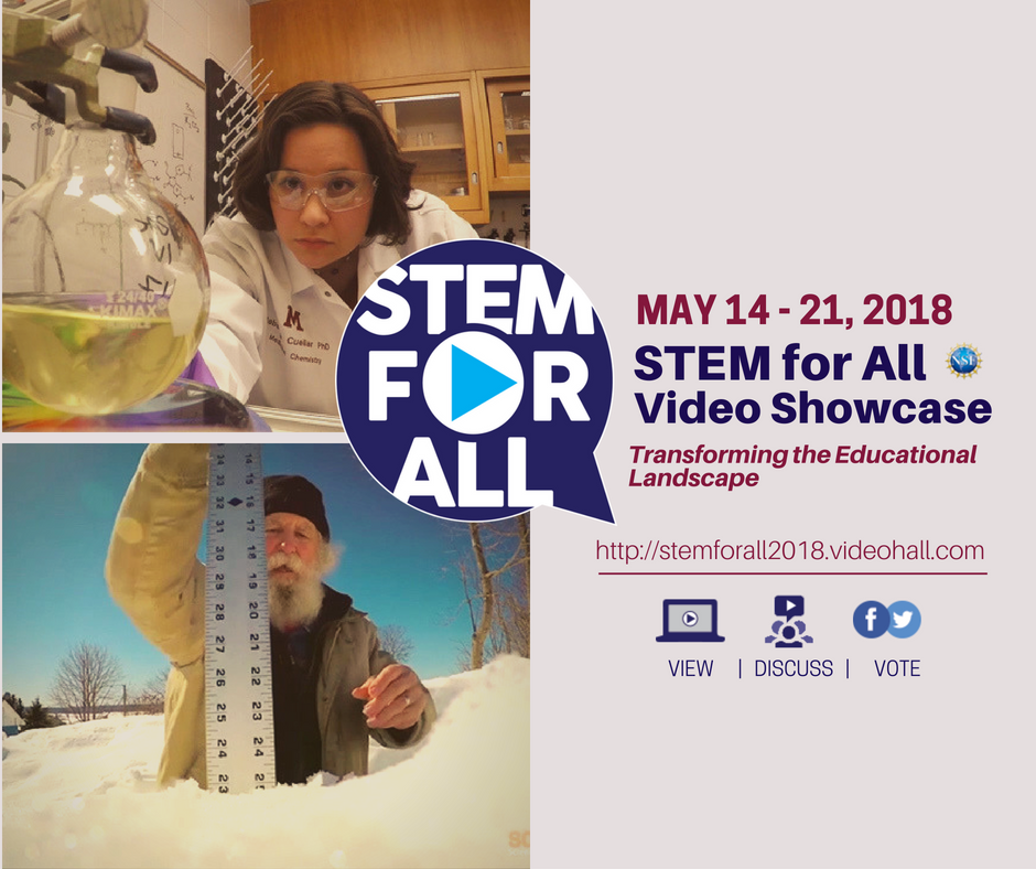 NSF Stem for All 2018 logo featuring images of scientists at work