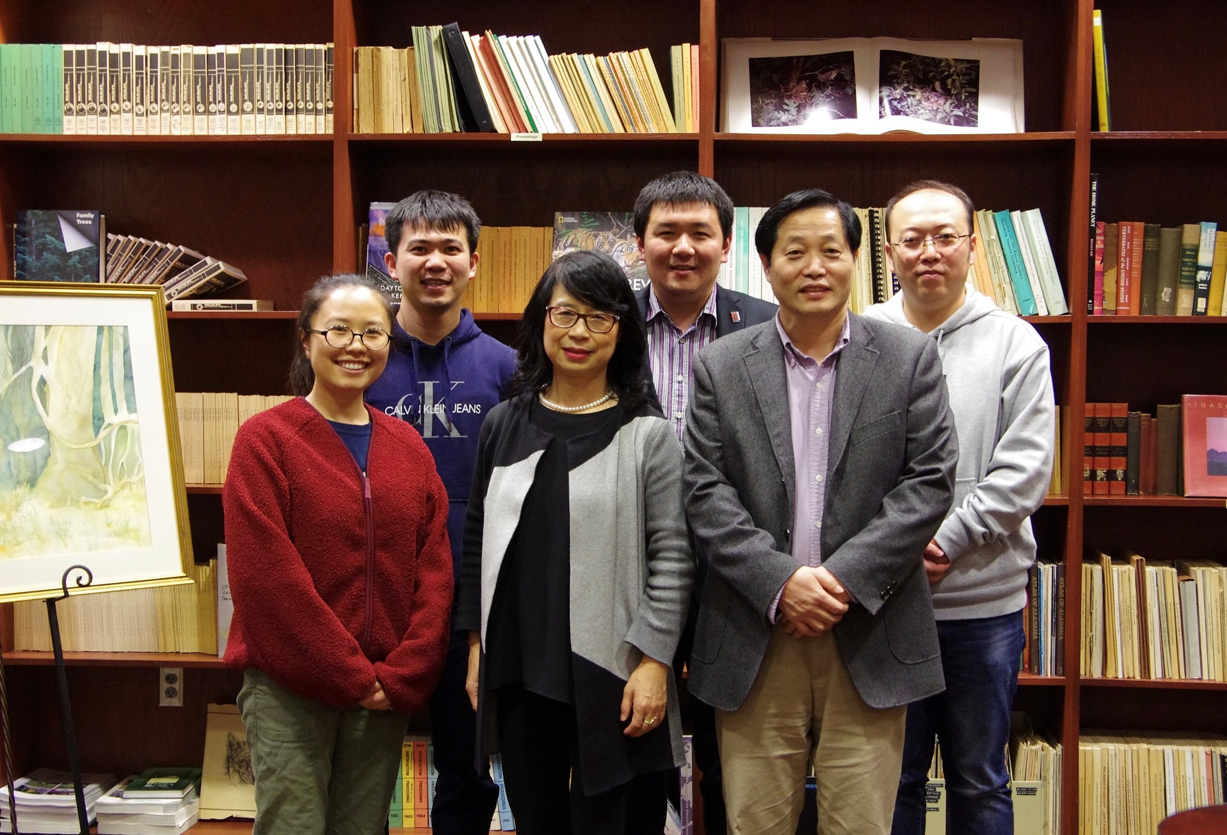 front row from left, Rongting Xu, Shufen Pan, Hanqin Tian, and, back row from left, Naiqing Pan, Yuanzhi Yao and Hao Shi.