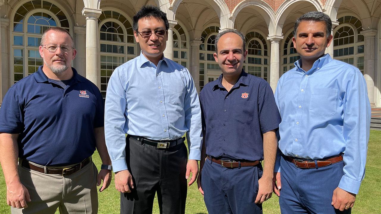 from the left: Michael C. Hamilton, Shuai Shao, Masoud Mahjouri-Samani and Nima Shamsaei.