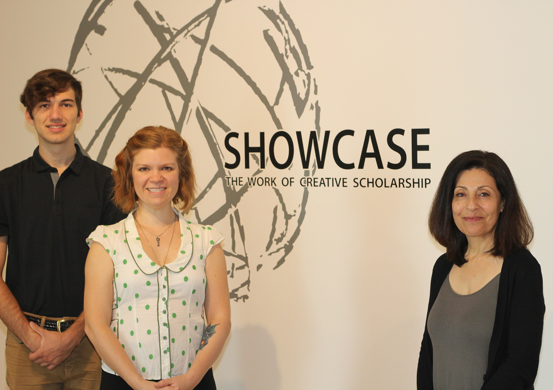 Artists featured in SHOWCASE event: Jack Stoffel, theatre student; Annie Campbell, art professor; and Fereshteh Rostampour, event organizer and professor of lighting and set design.