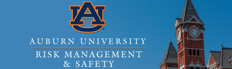 Auburn University Risk Management and Safety Logo over Samford Hall background