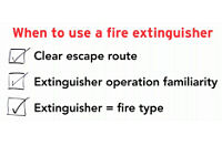 When to use a fire extinguisher checklist from How to Use a Portable Fir Extinguisher video.